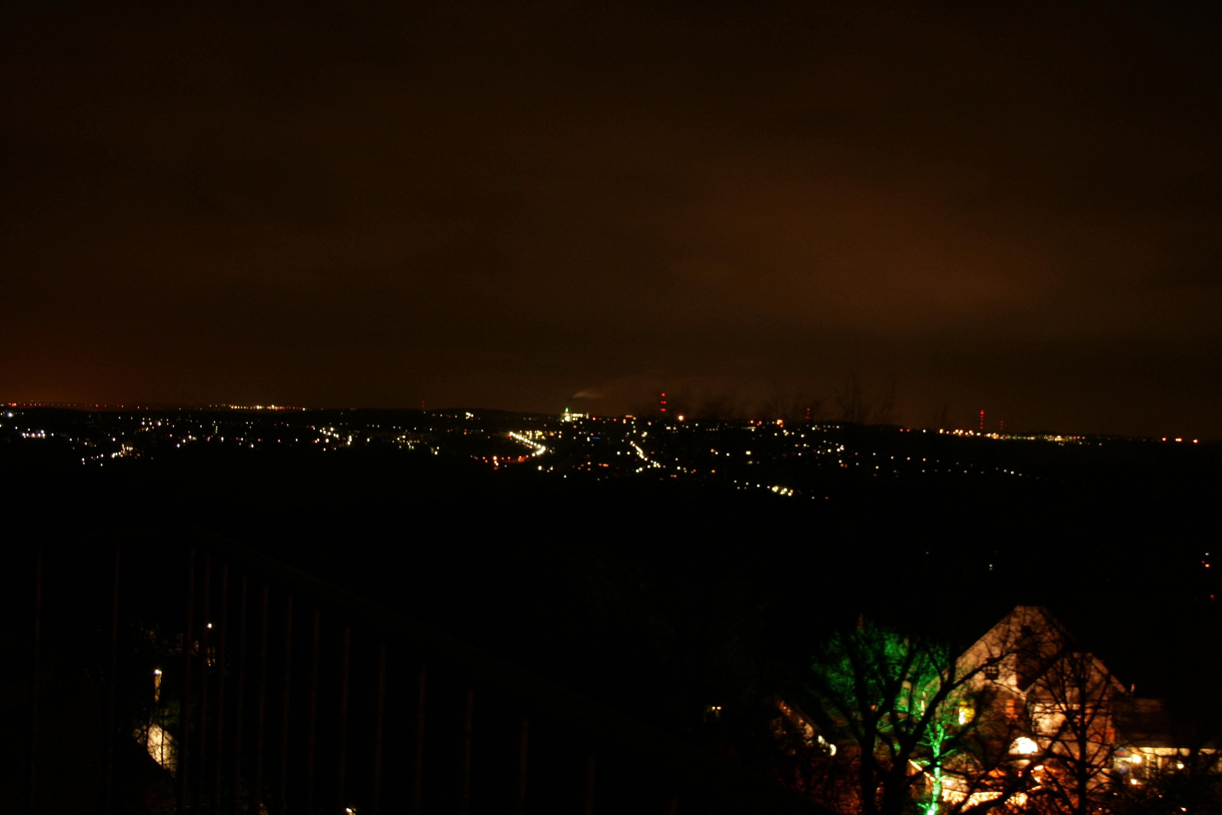 Blick bei Nacht nach Norden Richtung W-Lichtscheid